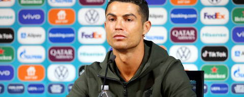 Soccer Football - Euro 2020 - Portugal Press Conference - Puskas Arena, Budapest, Hungary - June 14, 2021 Portugal's Cristiano Ronaldo during the press conference UEFA/Handout via REUTERS ??ATTENTION EDITORS - THIS IMAGE HAS BEEN SUPPLIED BY A THIRD PARTY. NO RESALES. NO ARCHIVES ORG XMIT: AI