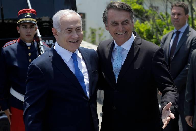 O ex-premiê de Israel Binyamin Netanyahu encontra Bolsonaro no forte de Copacabana, no Rio, em 2018