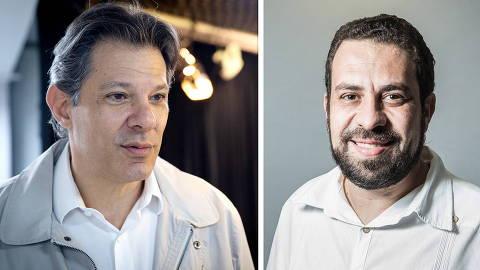 BRASÍLIA, DF, 21.10.2019 - O ex-prefeito de São Paulo Fernando Haddad durante entrevista exclusiva à Folha e ao UOL, no estúdio em Brasília (DF). (Foto: Kleyton Amorim/UOL/Folhapress)  SÃO PAULO, SP, BRASIL,  11/11/2020: Guilherme Boulos (PSOL - 50), candidato para prefeito de Sp. (Foto: Simon Plestenjak/UOL)