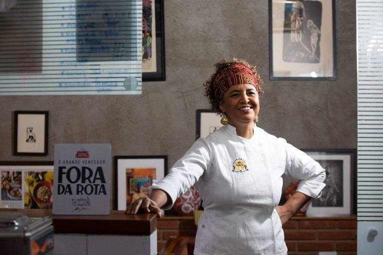 A chef Ieda de Matos, que venceu o reality Fora da Rota e comanda o restaurante temporário Portinha Artois, em Higienópolis