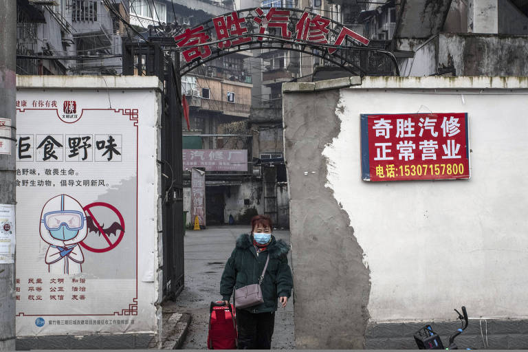 A propaganda poster advising against the consumption of wild animals in Wuhan, China, on Jan. 22, 2021. Those in favor of the coronavirus natural origins hypothesis have pointed to a recent study that showed that just before the pandemic hit, the cityÕs markets were selling many animal species capable of harboring dangerous pathogens that could jump to humans. (Gilles SabriŽ/The New York Times)