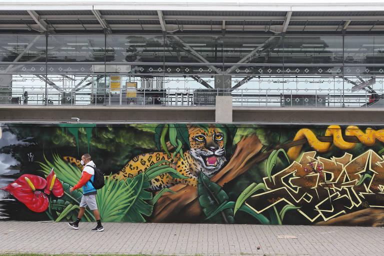 Muros de estações de trem da CPTM ganham painéis em grafite
