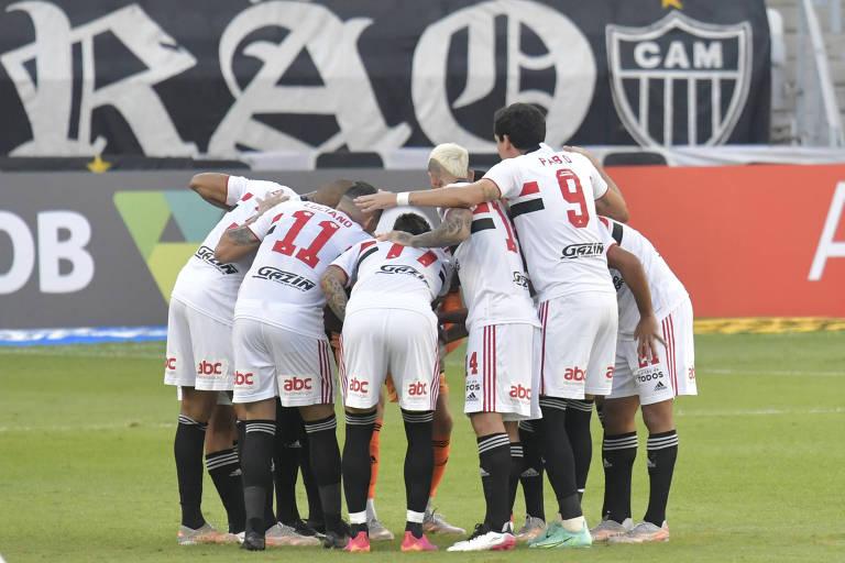 Jogadores do São Paulo reunidos antes da derrota para o Atlético-MG
