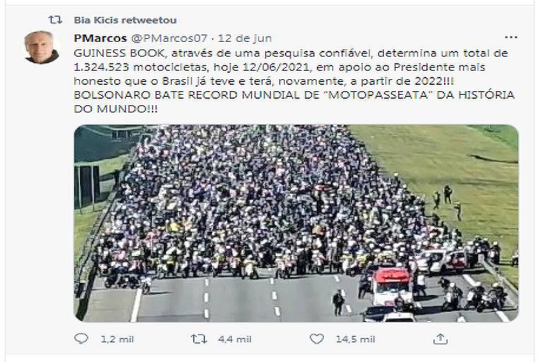 """Postagem do Twitter, retuítada pela deputada Bia Kicis, afirma que """"GUINESS BOOK, através de uma pesquisa confiável, determina um total de 1.324.523 motocicletas, hoje 12/06/2021, em apoio ao Presidente"""" e  """"BOLSONARO BATE RECORD MUNDIAL DE """"MOTOPASSEATA"""" DA HISTÓRIA DO MUNDO!!!"""""""
