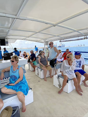 Passengers during an excursion in Barbados, in June 2021. Passengers were not allowed to wander the island on their own, or even swim to the beach. (Ceylan Yeginsu/The New York Times) ORG XMIT: XNYT234