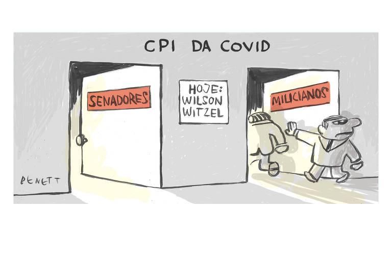 """Charge tem o título """"CPI da Covid"""". Nela há duas portas. Na da esquerda, que está semiaberta, há a palavra """"Senadores"""". Na da direita, há a inscrição """"Milicianos"""", e dois homens de terno aparecem entrando. Entre as portas, em um quadro na parede, lê-se """"Hoje: Wilson Witzel""""."""