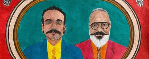Ronaldo Fraga e Hoslany Fernandes em pintura da artista pernambucana Lucia Helena Pontual