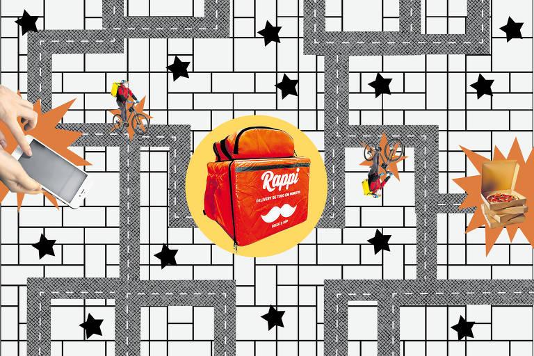Ilustração com as mochilas usadas por entregadores do Rappi