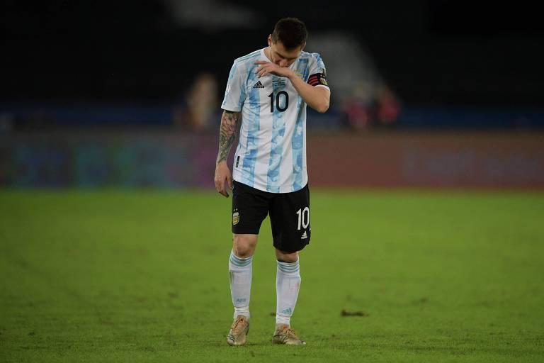 Messi durante a estreia da Argentina na Copa América, contra o Chile, no Rio