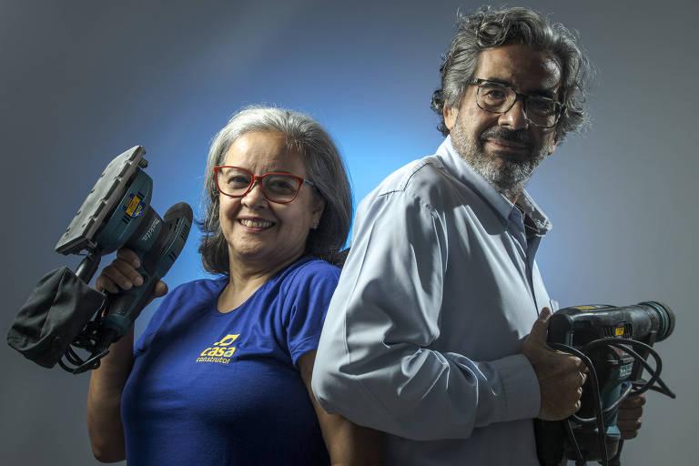 O casal Maria Luiza de Souza Silva e Marcelo Gomes da Conceição, dono de duas unidades da Casa do Construtor na Grande São Paulo