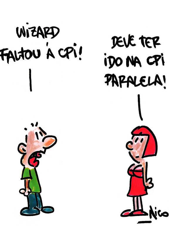 Charge do cartunista Nico sobre a participação de Carlos Wizard na CPI da Covid