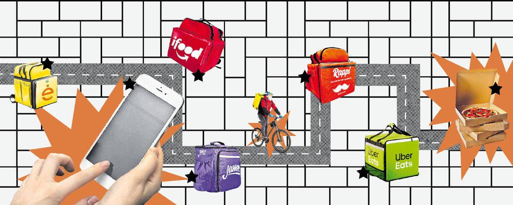 ilustracao de mochilas de aplicativo por delivery