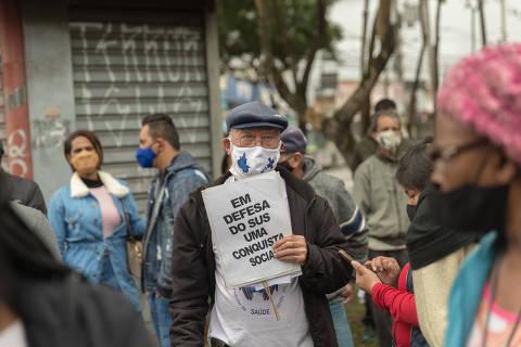 SÃO PAULO, SP, BRASIL, 17-06-2021 - PROTESTO FECHAMENTO PS -  Funcionarios e usuariso do Pronto Socorro Dona Maria Antonieta, no Grajaú, zona sul da capital, fazem protesto contra o fechamento da unidade. (Foto: Ronny Santos/Folhapress, CIDADES)