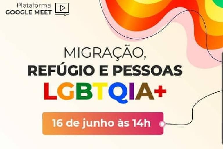 Cartaz do evento Migração, Refúgio e Pessoas LGBTQIA+, que foi invadido por ataques