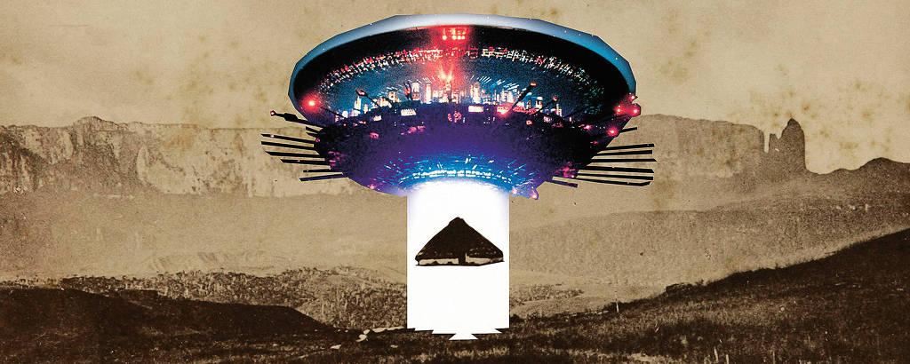 Intervenção em imagem antiga mostra uma espécie de disco voador abduzindo uma casa tradicional indígena