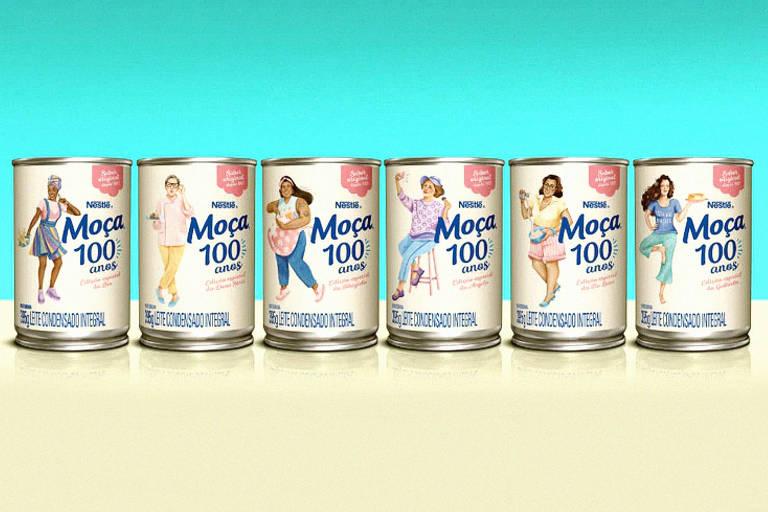 Seis latas com as novas embalagens de Leite Condensado da marca leite Moça Moça