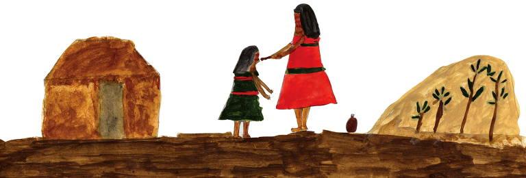 Pintura de duas mulheres em aldeia