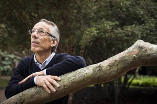 Retrato do empresario  Candido Bracher  ao lado de arvore Goiabera no quintal de sua residencia no Alto de Pinheiros. Bracher estreia coluna para a FOLHA