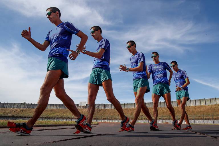 Efeito de foto mostra Caio Bonfim em diferentes posições durante os movimentos necessários para a marcha atlética