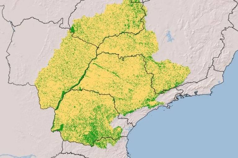 Mapa da bacia hidrográfica do Paraná em 2019: em amarelo, áreas que já foram transformadas pela ação humana; em verde, vegetação natural remanescente