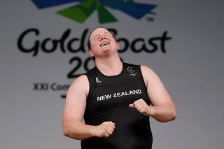 FILE PHOTO: Laurel Hubbard of New Zealand reacts at Gold Coast 2018 Commonwealth Games