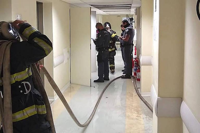 Hospital estadual Pérola Byington, na Bela Vista, região central de São Paulo, atingido por um incêndio nesta segunda (21)