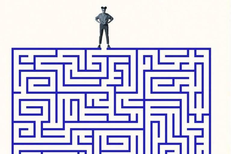 Ilustração sobre burocracia de reuniões de trabalho mostra mulher em cima de um labirinto