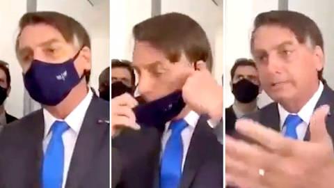 GUARATINGUETA, SP, 21-06-2021  -  O presidente Jair Bolsonaro (sem partido) mandou uma repórter da TV Vanguarda, afiliada da TV Globo, calar a boca ao ser questionado sobre não utilizar a máscara de proteção facial durante agenda, em Guaratinguetá (SP), na manhã desta segunda-feira (21/6). (Foto: Reprodução )