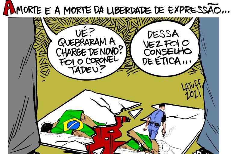 """Título da charge: A morte e a morte da liberdade de expressão. Abaixo, está a charge de Latuff, feita em 2019, no chão, quebrada ao meio. Na ocasião, ela foi quebrada pelo deputado Coronel Tadeu. Duas pessoas olham o trabalho destruído no chão e falam """"ué? quebraram a charge de novo? Foi o Coronel Tadeu?"""". E o outro responde """"dessa vez foi o Conselho de Ética"""""""