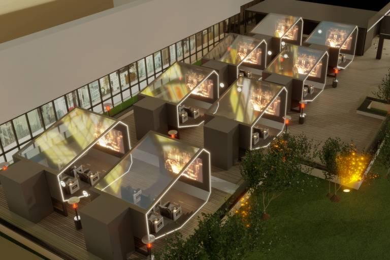 Projeto mostra como serão as cápsulas de cinema do Cine Vista 2021: oito cabines com teto transparente, seis poltronas reclináveis e tela de cinema