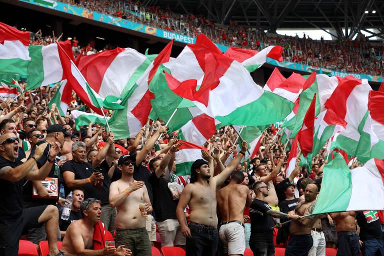 Torcedores da Hungria durante partida do país contra a França pela Eurocopa