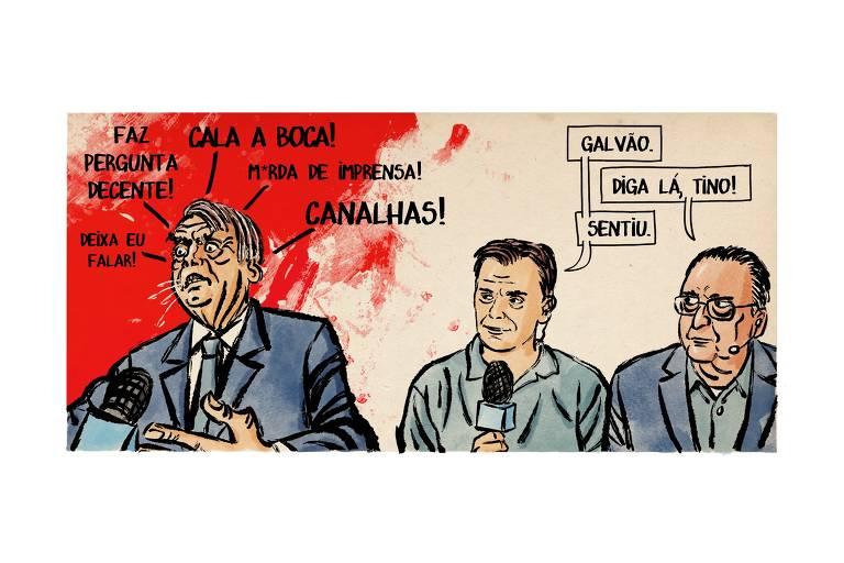 """Charge mostra o presidente Bolsonaro falando em um microfone. Ele diz """"faz pergunta decente!"""", """"cala a boca!"""", """"deixa eu falar!"""", """"m*erda de imprensa!"""" e """"canalhas!"""". A seu lado estão Tino Marcos e Galvão Bueno. Tino diz: """"Galvão"""". Galvão responde: """"Diga lá, Tino!"""". Tino afirma: """"Sentiu""""."""