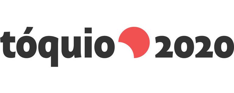escrito tóquio 2020 em preto com uma meia lua em vermelho entre as duas palavras, sobre fundo branco