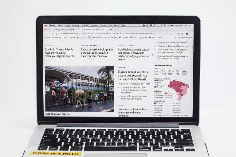 Reprodução do site da Folha