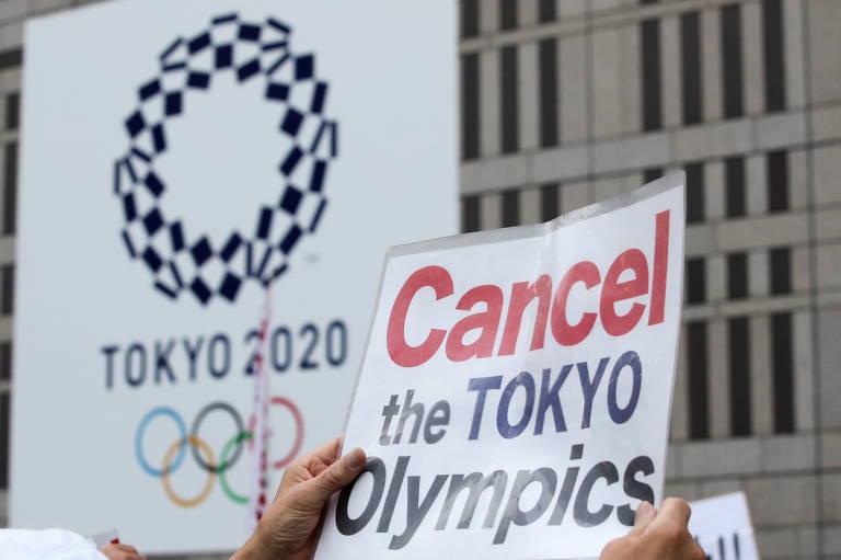 Manifestantes pedem cancelamento da Olimpíada de Tóquio