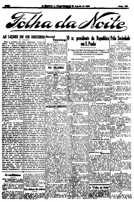 Primeira Página da Folha da Noite de 23 de agosto de 1921