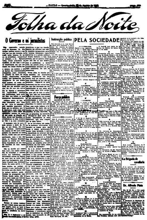 Primeira Página da Folha da Noite de 24 de agosto de 1921