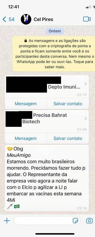 Veja mensagens de deputado sobre a Covaxin que citam Bolsonaro