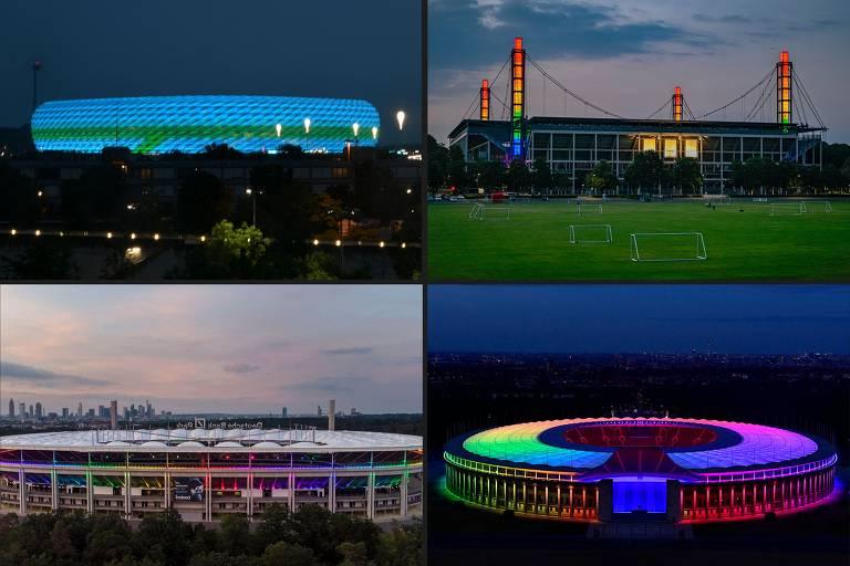 Combinação de imagens mostra a Allianz Arena, em Munique, iluminada com as cores azul e verde antes de Alemanha x Hungria pela Eurocopa; com o estádio proibido de usar as cores do arco-íris, relacionado ao movimento LGBTQ, outros estádios no país se iluminaram com elas, casos do de Frankfurt (esq., abaixo), Colônia (dir., acima) e Berlim (dir., abaixo)