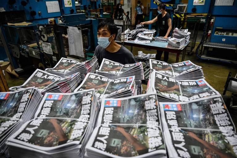 No último dia do Apple Daily, jornalistas tentam preservar legado do jornal que incomodou a China