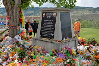 FILE PHOTO: A memorial on the grounds of the former Kamloops Indian Residential School in Kamloops