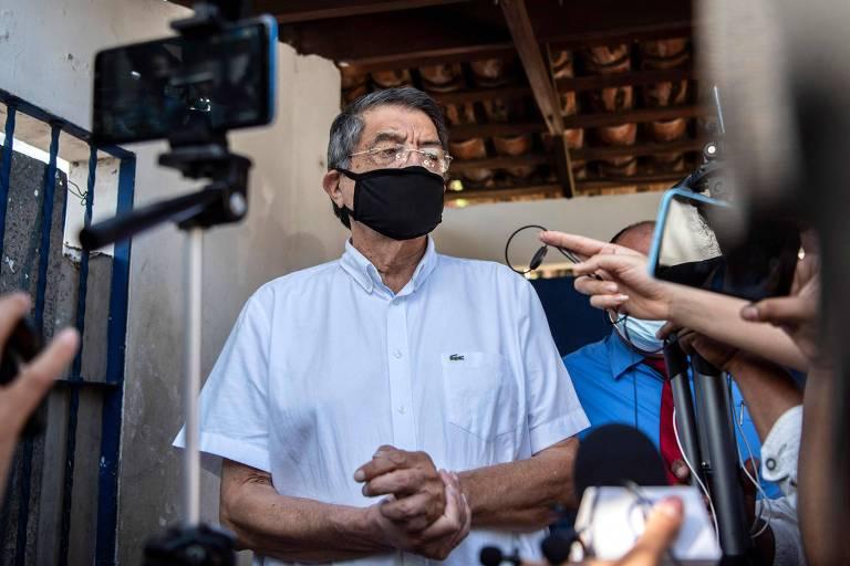 Sergio Ramirez, escritor e ex-vice presidente da Nicarágua, durante entrevista coletiva em Manágua