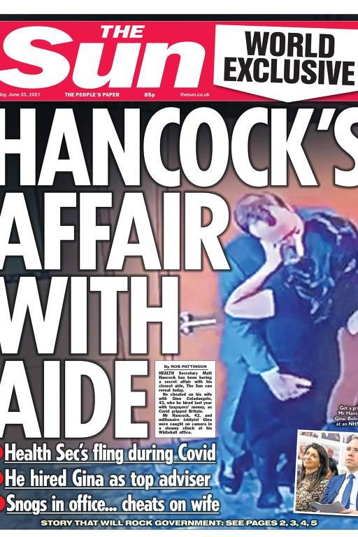 capa de jornal com foto em que homem beija mulher e está com a mão esquerda sobre suas nádegas