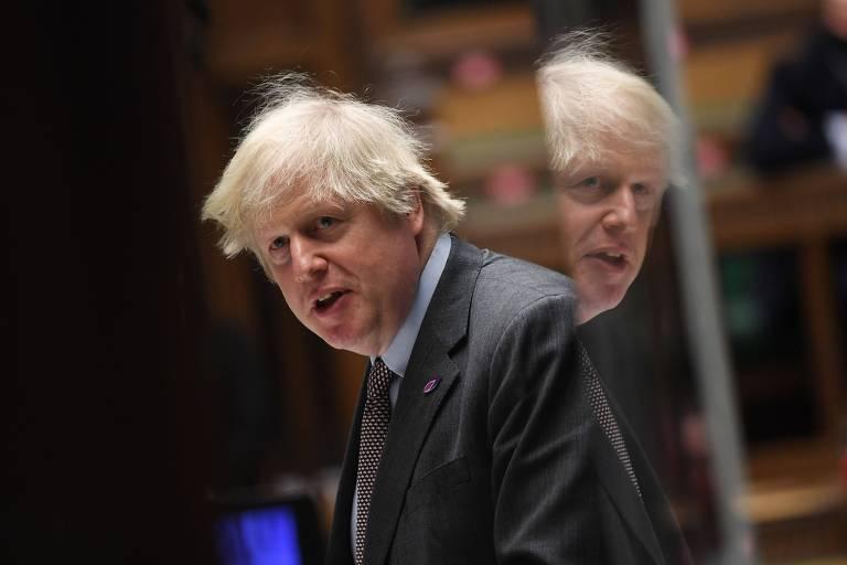 O premiê britânico, Boris Johnson, durante sessão no Parlamento britânico, em Londres