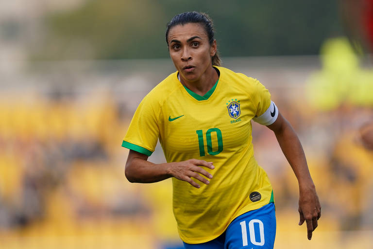 Jogadora Marta em partida do Brasil
