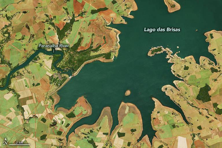 Imagem de satélite feita pela Nasa mostra impacto da seca