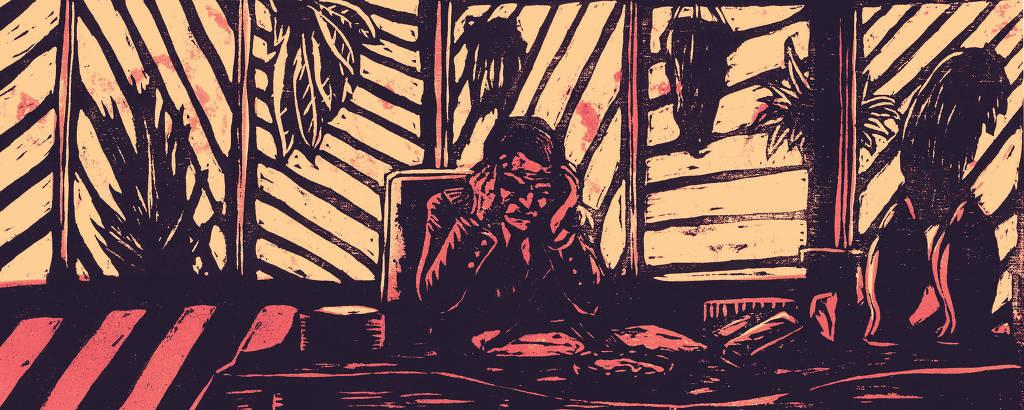 gravura de homem atrás de mesa de escritório curvado com as mãos na cabeça