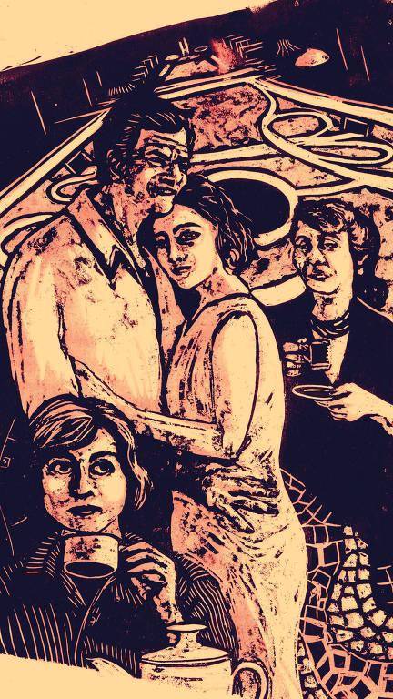pôster em que se vê, ao fundo, o desenho de Brasília e, em primeiro plano um casal que se abraça, e duas mulheres que seguram xícaras