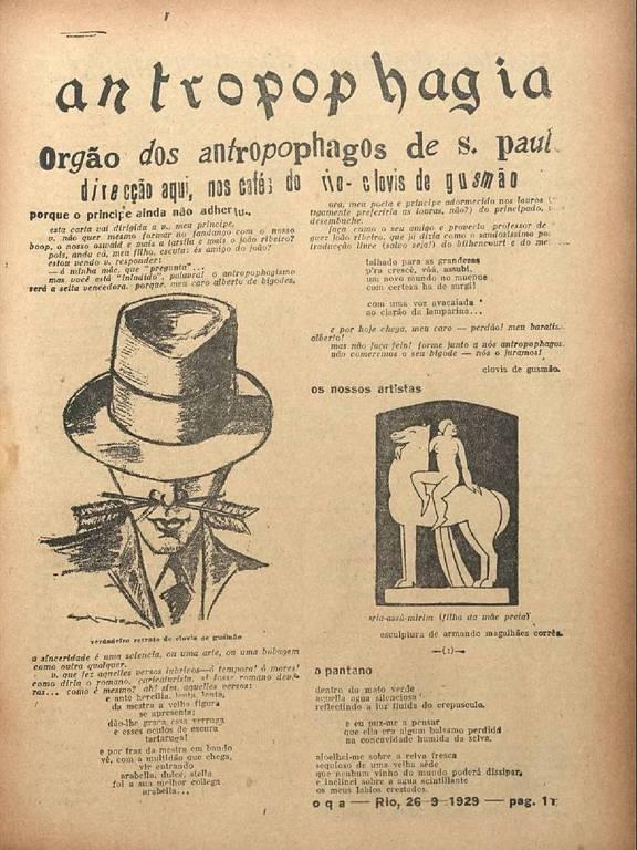 Página da Revista de Antropofagia, de 1929