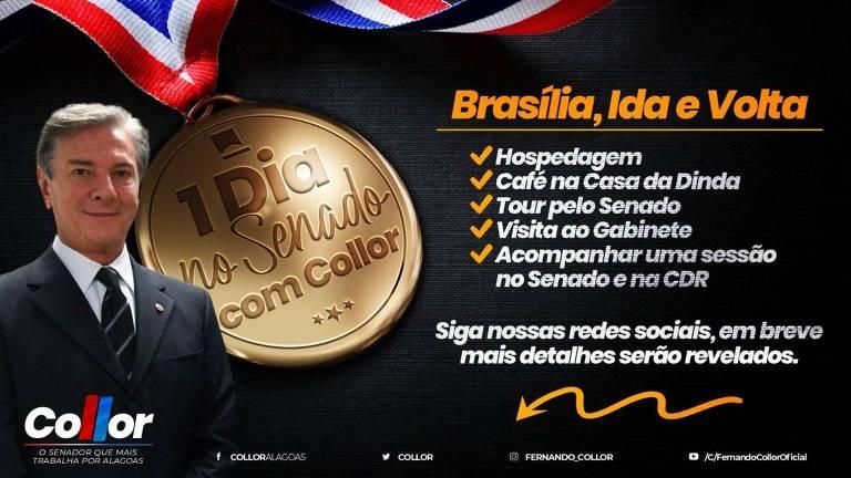 Reprodução de imagem postada pelo senador Fernando Collor em suas redes sociais convidando internautas para sorteio